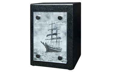 Cremation Urn with Engraved Photo on Glass Panel